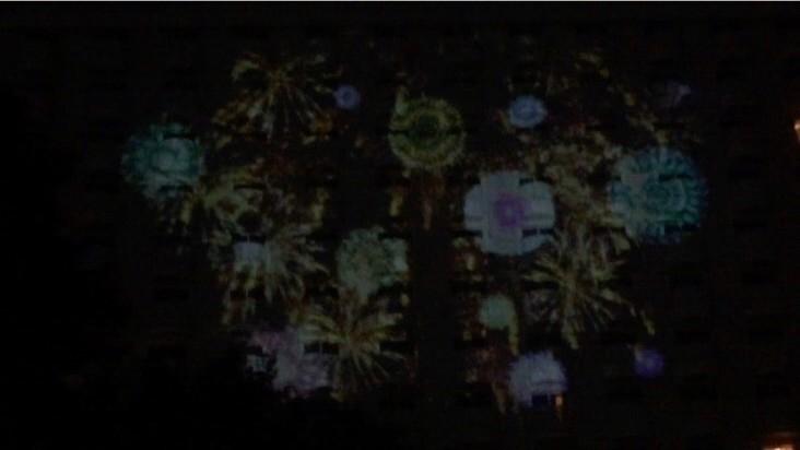 プロジェクションマッピング 高輪花火大会 グランド プリンス ホテル 日本庭園 花火