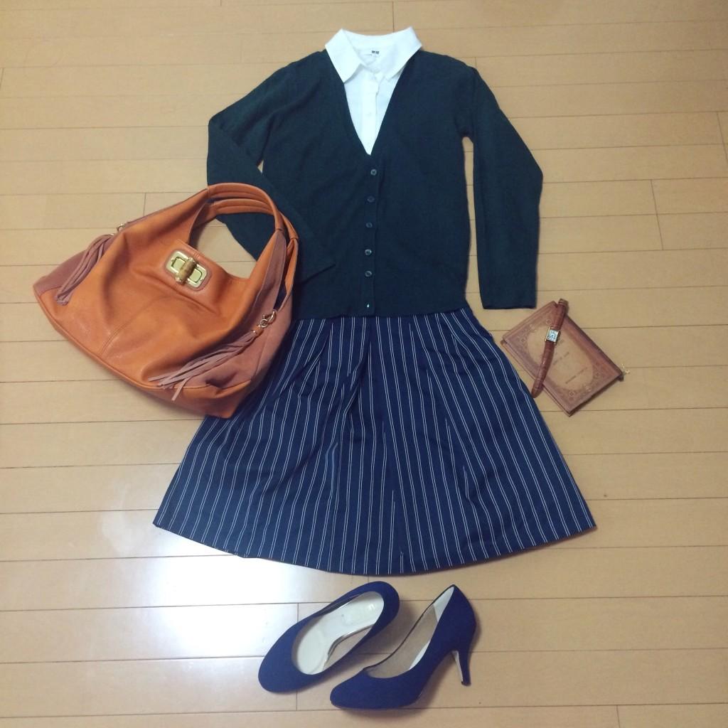 オフィスカジュアル ストライプ スカート OL  通勤 ファッション コーデ