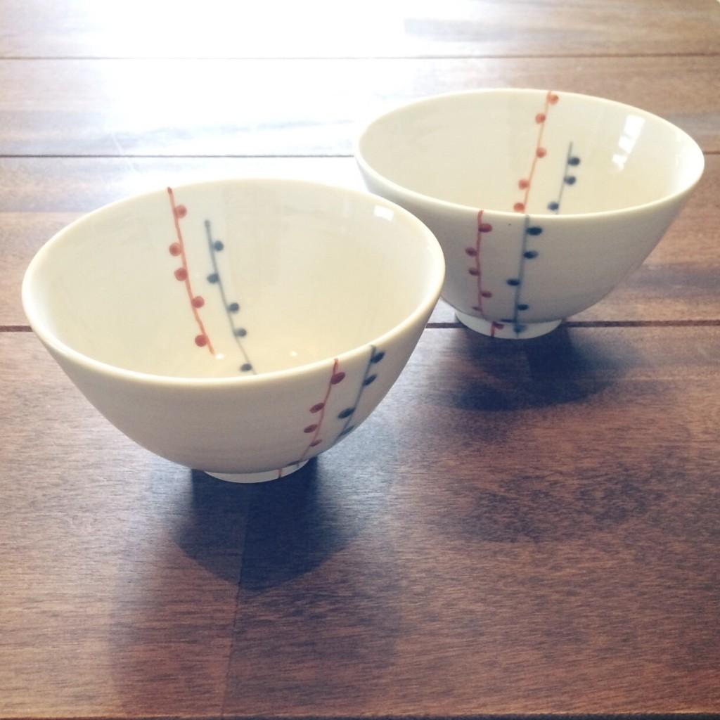 九谷青窯 飯碗 ご飯茶碗 和食器 人気 夫婦茶碗 ペア 白 朱入り蕾 お皿 おすすめ